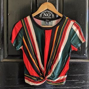 Forever 21 knot front stripe shirt size s